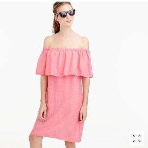 J crew coral color off the shoulder dress.